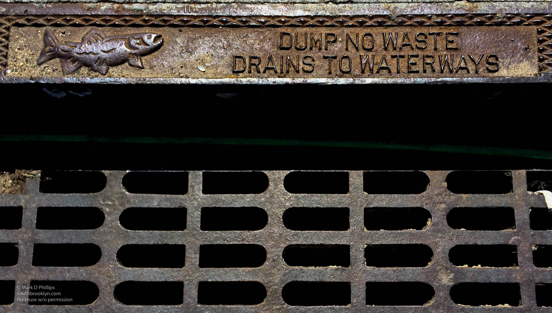 Gowanus Canal Storm Drain with fish placque