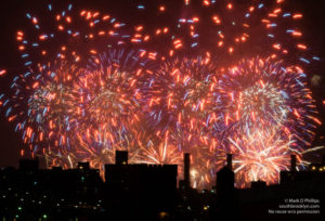 Macy's Fourth of July Fireworks fill the sky with a mosaic of fire above New York City. Printed on  Silky Gloss paper
