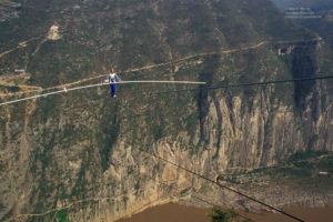 """Jay Cochrane, """"The Prince of the Air"""", skywalks during The Great China Skywalk in Qutang Gorge. Printed on  Silky Gloss paper"""
