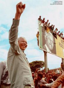 Nelson Mandela in Durban, South Africa, during his campaign for the presidency against Willem de Klerk in 1994. ©Mark D Phillips