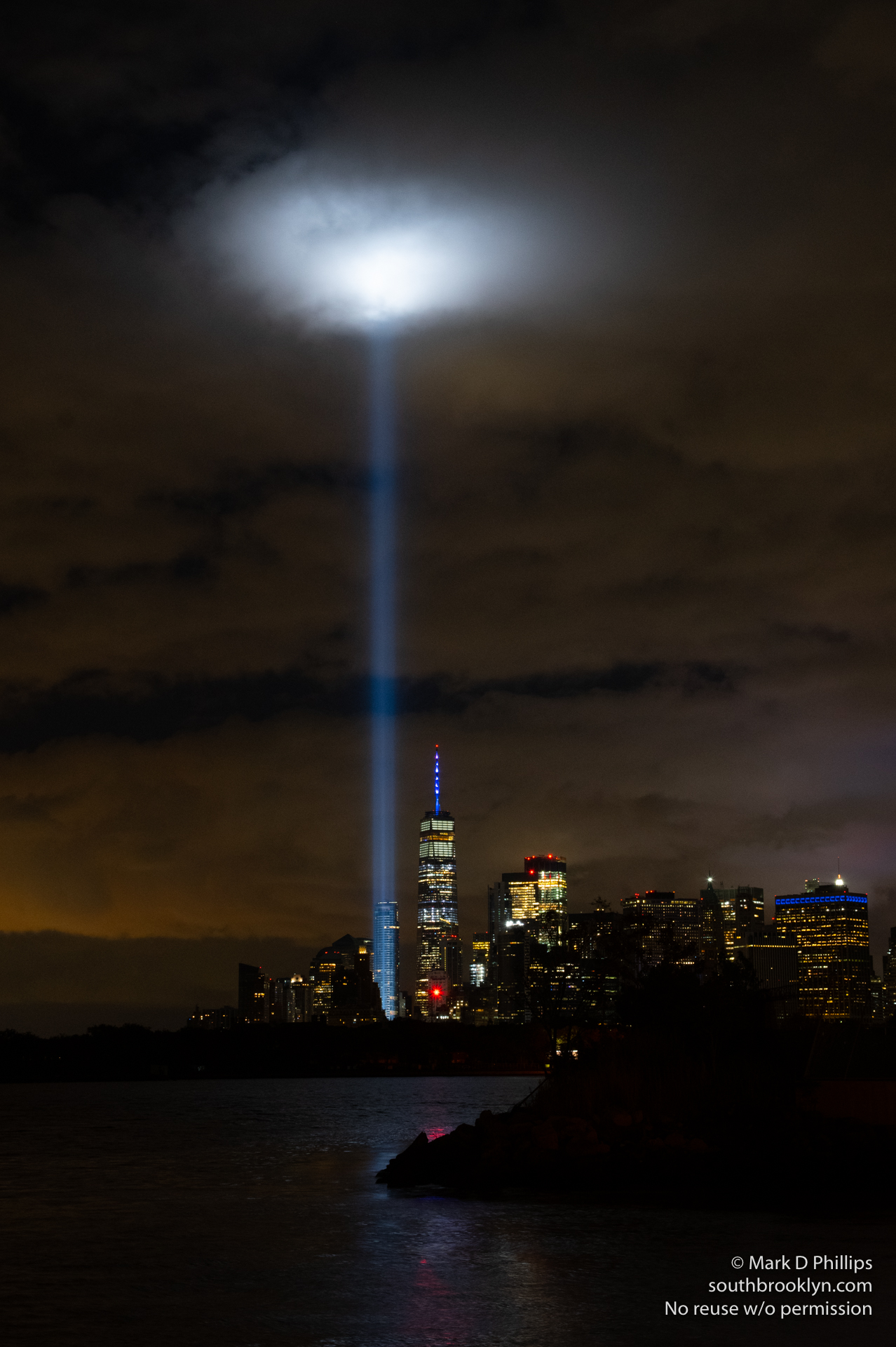 Tribute in Light memorial to 9/11 from Brooklyn Heights and Red Hook