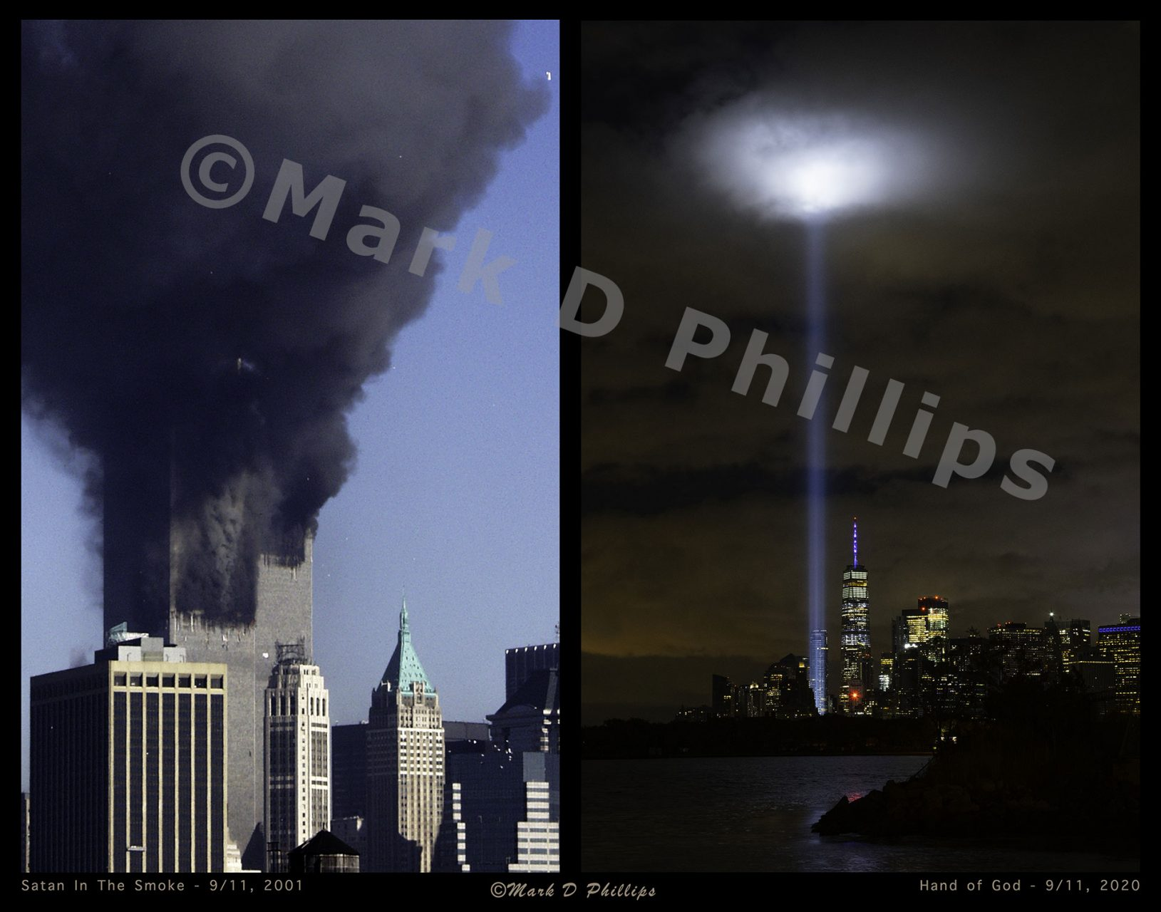 """This 9/11 Diptych is twenty years of New York 9/11 history with two images by Mark D Phillips - """"Satan in the Smoke"""" and """"The Hand of God"""" - printed on 11"""" x 14"""" aluminum, made to hang floating on the wall."""