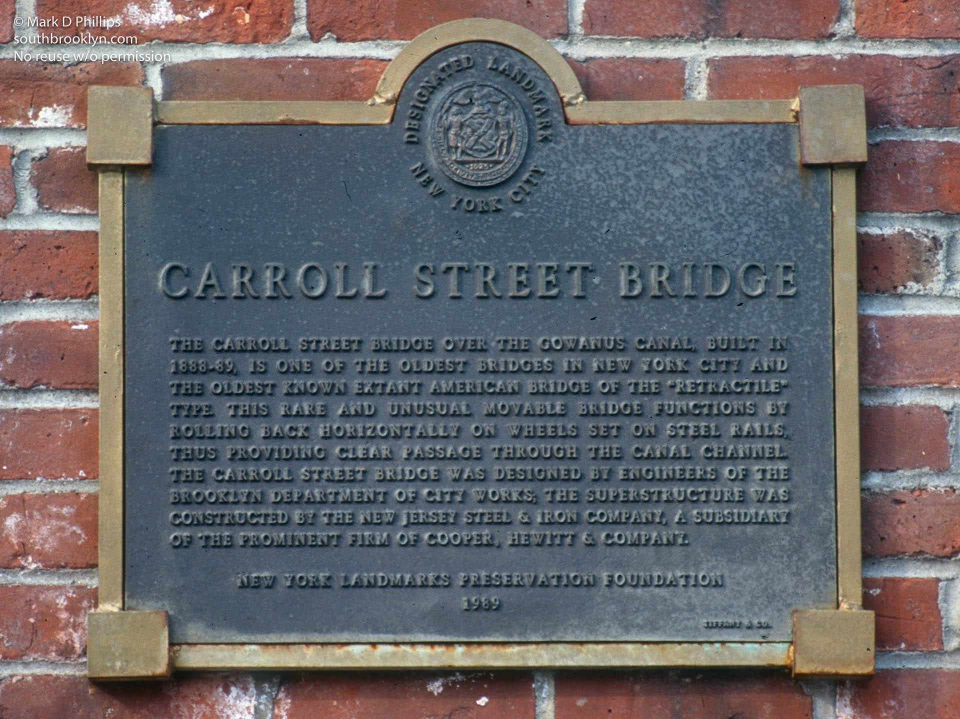 Carroll Street Bridge over the Gowanus Canal historical marker