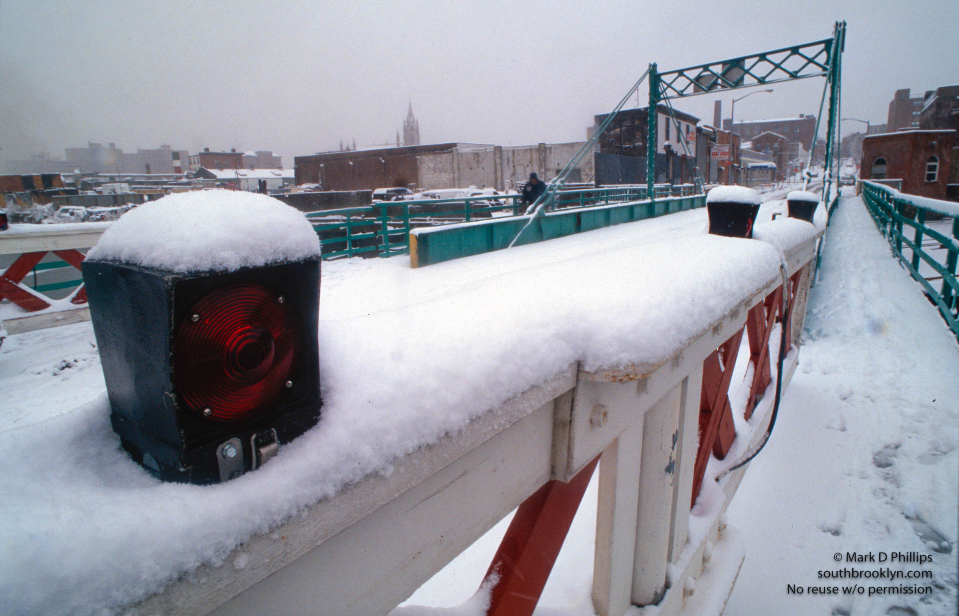 Carroll Street Bridge in the snow over the Gowanus Canal in Brooklyn, NY