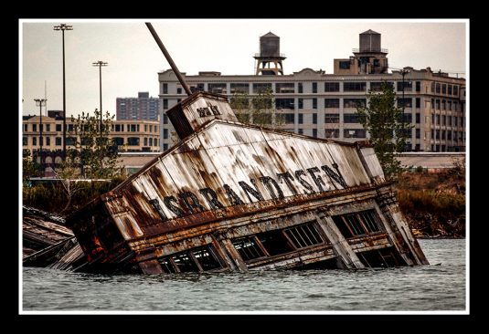 Fine Art Print, 20 x 30: The ISBRANDTSEN pier collapsed into Gownaus Bay at the end of the Gowanus Canal. Isbrandtsen Lines was the leading US-flag shipping company between the U.S. and the Mediterranean from 1919 to 1977. ©Mark D Phillips