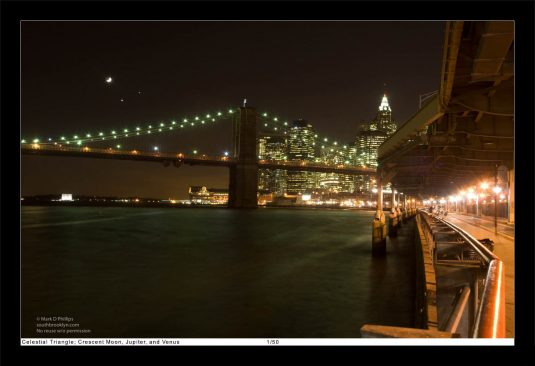 13 x 19 Framed Print, ©Mark D Phillips; Crescent Moon, Jupiter, and Venus create a Celestial Triangle over the Brooklyn Bridge and New York Harbor on December 1, 2008.
