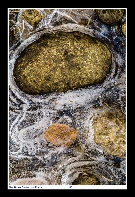 Nye Brook Series: Rocks embedded in ice in Nye Brook at Blandford Ski Area in Massachusetts. ©Mark D Phillips
