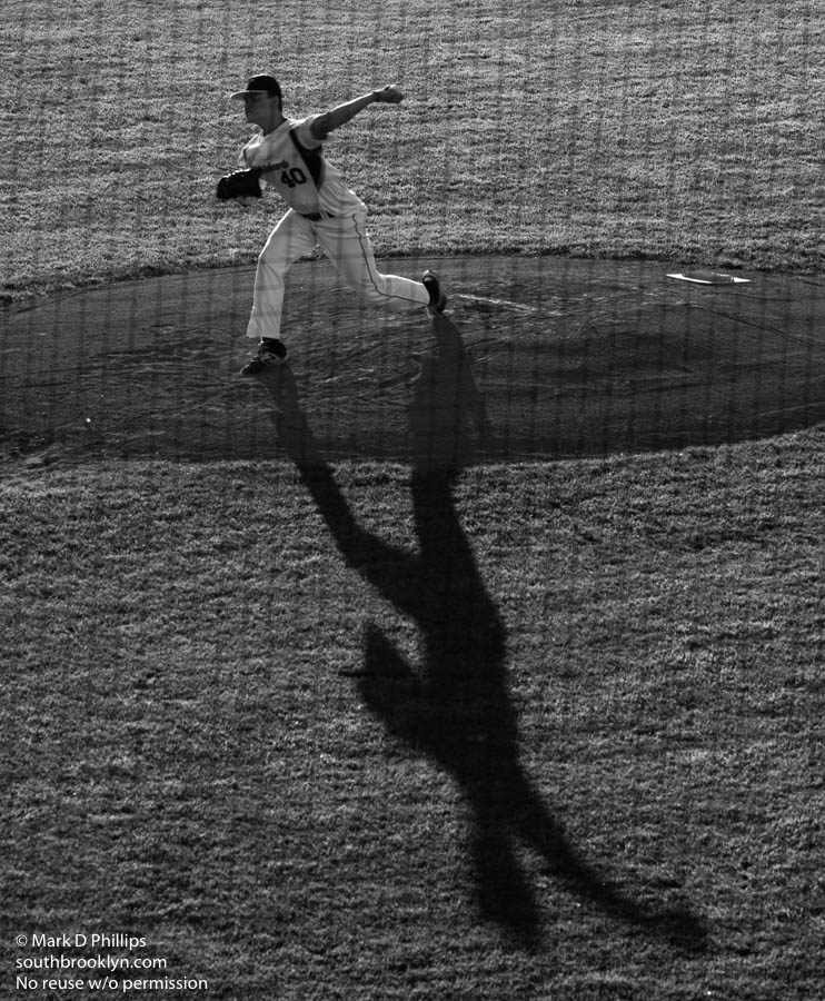 Worcester Bravehearts pitcher Shawn Babineau casts a large shadow. ©Mark D Phillips
