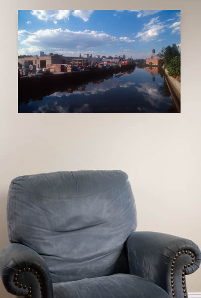 "Displaying Gowanus Reflections print (20"" by 30"") on a living room wall"