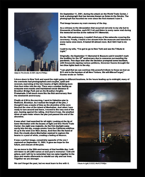 8″ x 10″ framed story print of Tribute in Light by Mark D Phillips in EVERY PICTURE TELLS A STORY COLLECTION